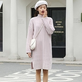 長袖洋裝-高領寬鬆麻花針織結連身裙2色73xm44【時尚巴黎】