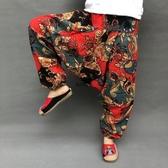 飛鼠褲多彩尼泊爾民族風棉麻東巴褲休閒旅游哈倫吊襠褲男女寬鬆大襠褲 韓國時尚週