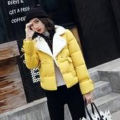 羽絨外套-翻領毛領雙排扣短款韓版女夾克6色73pa32[巴黎精品]