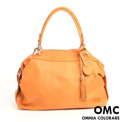 OMC - 繽紛系全牛皮流蘇手提肩背包 ─ 亮眼橘