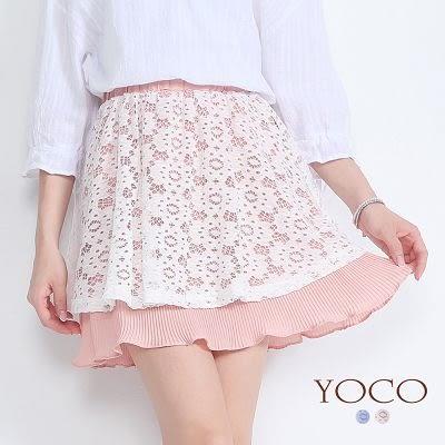 東京著衣【YOCO】日雜款鏤空蕾絲細百褶短裙-S.M.L(6019103)