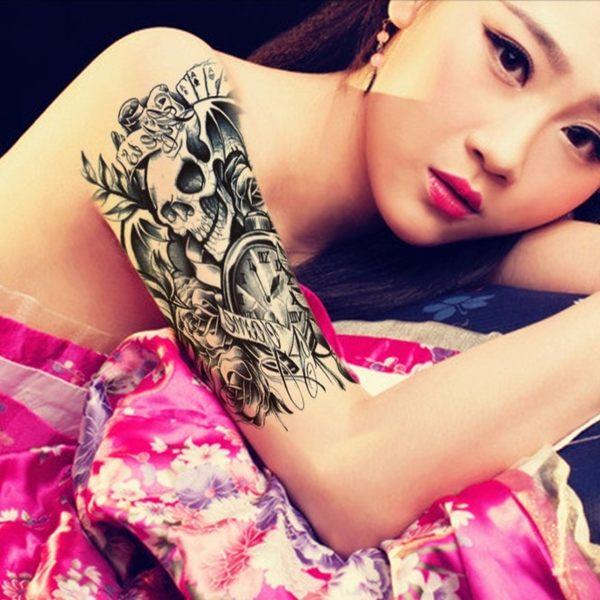 花臂紋身貼紙 ZW016  黑白骷髏頭 日韓系水轉印紋身貼紙 想購了超級小物