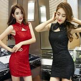 洋裝 2018夏裝新款韓系性感夜店女裝修身緊身蕾絲旗袍露胸包臀洋裝