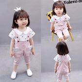 吊帶褲套裝2018新款寶寶夏裝女童短袖兩件式    zr1346『寶貝兒童裝』