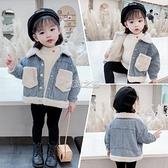粉筆盒子女寶寶冬裝外套0一1-2-3歲小童4兒童加絨秋冬牛仔衣服