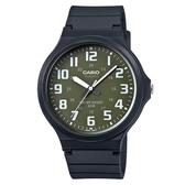 CASIO 大錶面簡約文青休閒錶-墨綠(MW-240-3B)