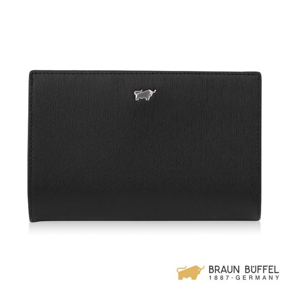 【BRAUN BUFFEL】美莉莎-III系列11卡兩折中夾 -黑色 BF651-403-BK