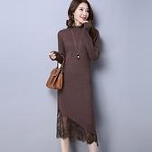 秋冬新款韓版針織蕾絲連身裙女中長款針織大碼打底毛衣裙過膝女 suger