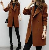 【TU11】毛呢外套 韓版中長款繭型雙排扣呢子大衣 寬鬆顯瘦長版上衣