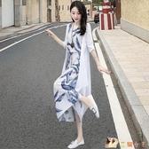 夏天棉麻連身裙兩件套裝2020年夏裝新款收腰氣質顯瘦亞麻長裙子女 KP2699快出【花貓女王】