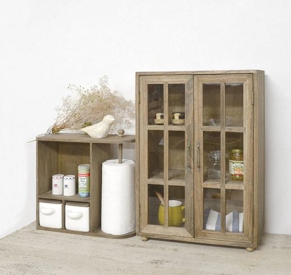 《齊洛瓦鄉村風雜貨》日本zakka雜貨 aziazi 木質雙門三層收納櫃 收納小櫃子 格子窗收納櫃