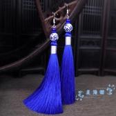 民族風耳環 青花瓷藍色古典耳飾女復古云南民族風耳環流蘇長款中國風氣質耳墜 星隕閣