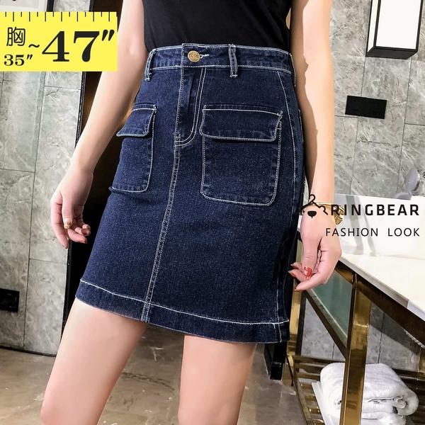 牛仔裙--韓版修身顯瘦前後口袋撞色車線高腰牛仔短裙(藍M-5L)-Q115眼圈熊中大尺碼◎