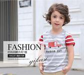 童裝兒童純棉體恤經典條紋短袖上衣 2018夏季新款男童女童