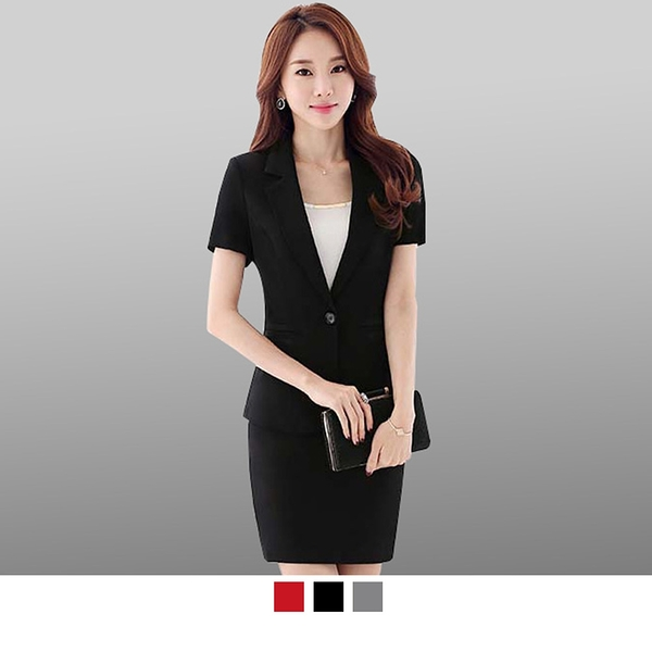 晶輝專業團體制服*CH010*大尺碼職業裝套裝短袖女士正裝酒店經理制服面試西裝工作服工裝