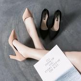 春季顯瘦性感尖頭磨砂絨粗跟超高跟鞋子《小師妹》sm140