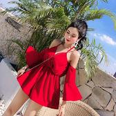 VK精品服飾 韓國風度假必備一字領露肩收腰系帶連身褲套裝短袖褲裝