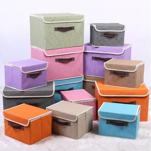 收納箱 【BNA034】高檔亞麻布質收納整理箱(23L) 文具 收納箱 防潮 防塵 衣物收納 123ok