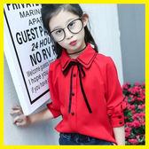 女童襯衫春夏韓版新款新款童裝兒童長袖紅白色上衣中大童雪紡襯衣