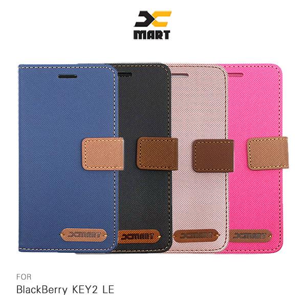 XMART BlackBerry KEY2 LE 斜紋休閒皮套 磁扣 側翻 可插卡 保護套 手機套
