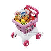 〔小禮堂〕迪士尼 超市購物玩具組《粉白推車.粉購物籃.玉米.小熊維尼大頭麵包》 4904810-86136