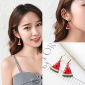 韓國個性耳墜氣質女耳釘網紅耳環長款新款潮 高級感小眾耳飾Ps:清爽西瓜