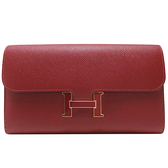 HERMES 愛馬仕 Constance Long Wallet 54 Rouge Garance 紅色牛皮琺瑯釦長夾 A刻 Epsom 【二手名牌BRAND OFF】