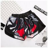 Catworld 色塊印花防走光雙層運動短褲【14001216】‧S-XL