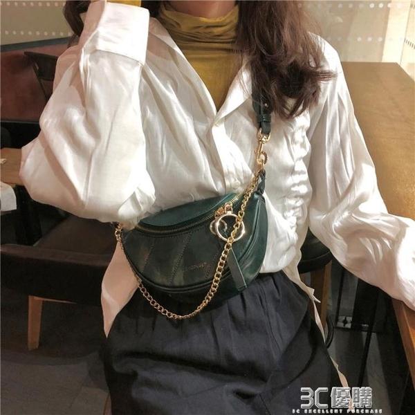 2020網紅新款褶皺腰包小香風菱格包圓環飾手提單肩包斜挎胸包包女 3C優購