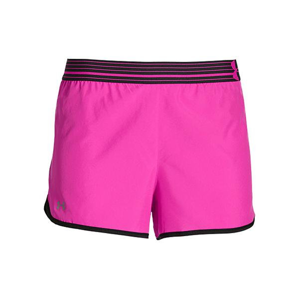 UA 19SS 運動短褲 反光  女3吋慢跑短褲 Perfect Pace 1253858-652 桃紅/黑【樂買網】