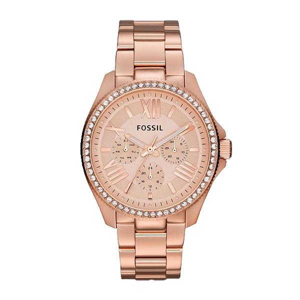 【Fossil】Cecile羅馬時標晶鑽三眼時尚腕錶-玫瑰金/AM4483/台灣總代理公司貨享兩年保固