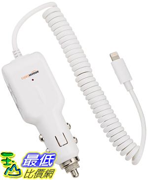 [106美國直購] AmazonBasics 車截充電器 Lightning Car Charger for iPhone, iPad and iPod - Coiled Cable White