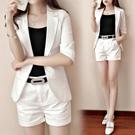 西裝兩件套 時尚套裝夏季女裝氣質短褲兩件套顯瘦休閒正韓棉麻西裝潮-Ballet朵朵