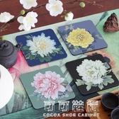 餐桌墊牡丹四小品杯墊宜家簡約創意餐桌墊席布茶墊茶道配件隔熱防滑墊 流行花園