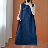 洋裝 - K6657 抽鬚無袖牛仔洋裝【F碼】