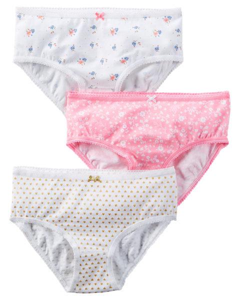 【美國Carter's】女童小內褲三件組 - 粉嫩花卉+愛心點點系列 D31G059