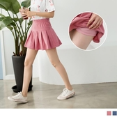 《BA3837-》糖果色鬆緊腰頭百褶短褲裙 OB嚴選