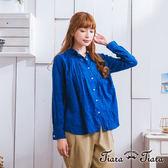 【Tiara Tiara】激安 層疊花朵圓下擺排釦翻領長袖襯衫(白/藍)