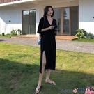 熱賣T恤裙 大碼女裝2021夏裝新款洋氣法式開叉連身裙女胖mm顯瘦t恤長裙200斤【618 狂歡】