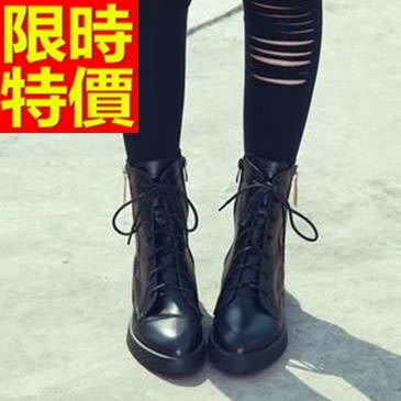 馬丁靴-時尚優雅真皮中筒女靴子1色65d68[巴黎精品]