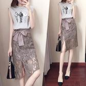 包臀裙包臀高腰a字裙港味不規則半身裙女蕾絲時尚修身裙子 薔薇時尚