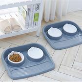 寵物碗雙碗蝶可愛塑料雙碗中小型犬狗狗碗食盆防濺防漏貓咪碗架子 限時八折 最后一天