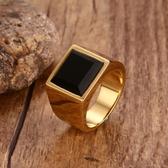 金色復古鈦鋼潮男戒指黑曜石歐美霸氣時尚男士個性單身食指可刻字