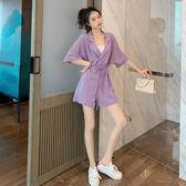連身褲女夏裝新款寬鬆垂感高腰顯瘦時尚收腰連衣闊腿短褲 - 618熱銷