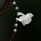 天然小葉紫檀深海蝶貝蓮花項鏈