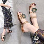涼鞋 女正韓平底花朵外穿涼拖一鞋兩穿夾拖鞋