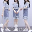 時尚套裝 小個子輕熟風碎花洋裝女2021年新款夏季氣質牛仔裙子兩件套 16【快速出貨】
