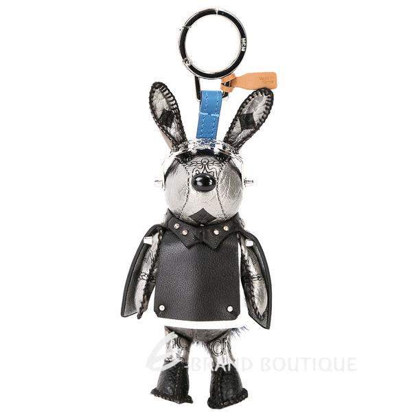MCM RABBIT 太空飛行造型兔子鑰匙圈/吊飾(黑x銀色) 1730300-31