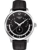 TISSOT 天梭 Tradition 逆跳復刻經典手錶-黑 T0636371605700