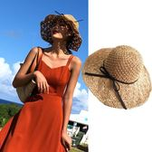 沙灘帽陌素小姐海邊度假搭配 沙灘度假帽子草編帽大檐太陽帽 定型可折疊 3c公社